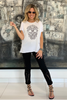 Skull Asymmetrical Tee With Finished Hems - White (1864807415852)