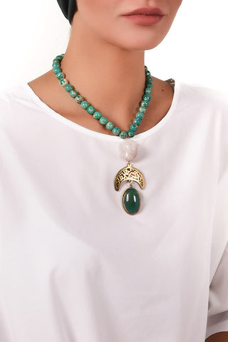 Precious Green Stone Necklace - Gingerlining