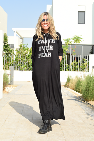 Long Hoodie Dress With Side Pockets - Black/Faith Over Fear (6068262273198)