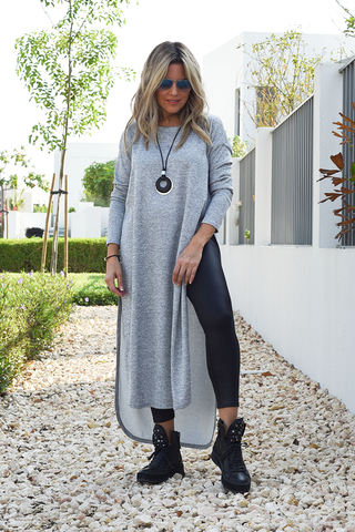 Long Sleeves Side Slits Top - Grey (6069083865262)