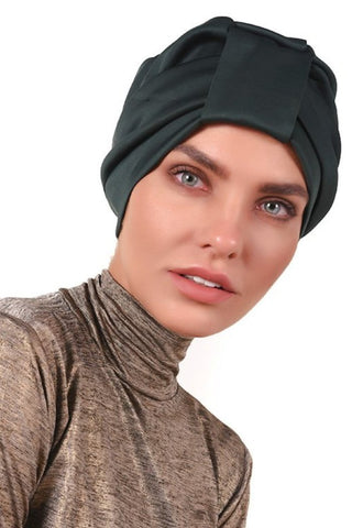 Lycra Tab Turban - Bottle Green - Gingerlining