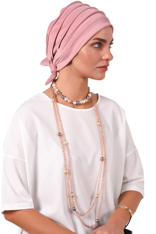 Lycra Fitted Pleat Turban - Dusty Pink - Gingerlining