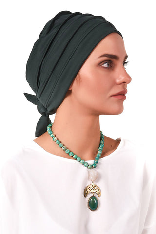 Lycra Fitted Pleat Turban - Bottle Green - Gingerlining