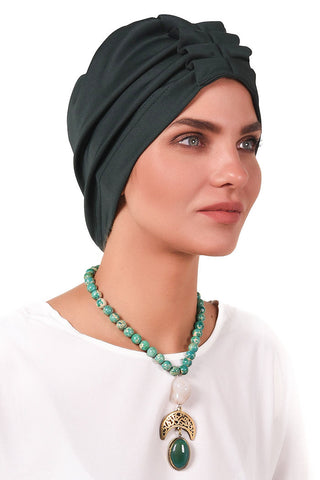Lycra Fan Turban - Bottle Green - Gingerlining (723039649836)