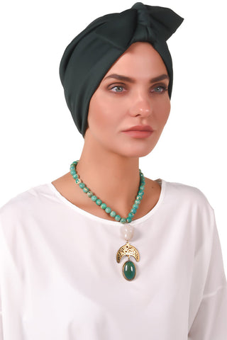 Lycra Tie Bow Turban - Bottle Green - Gingerlining (723060981804)