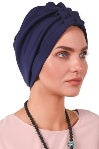 Lycra Fan Turban - Navy - Gingerlining (723051970604)