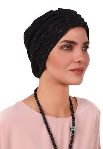 Simple Fan Turban - Black&Pink - Gingerlining (723045220396)
