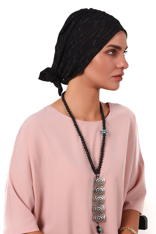Simple Tie Bow Turban - Black&Pink - Gingerlining