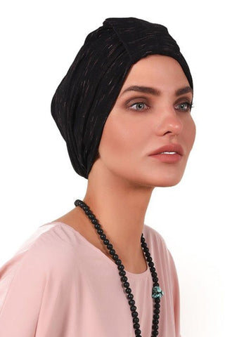 Simple Tab Turban - Black&Pink - Gingerlining