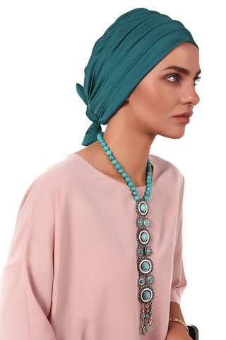 Lycra Fitted Pleat Turban - Jade - Gingerlining
