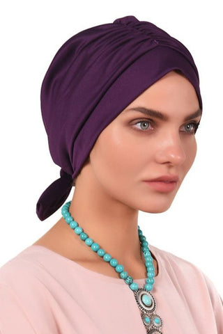 Lycra Tie Bow Turban - Dark Voilet - Gingerlining (723057475628)