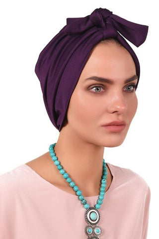 Lycra Fitted Pleat Turban - Dark Violet - Gingerlining