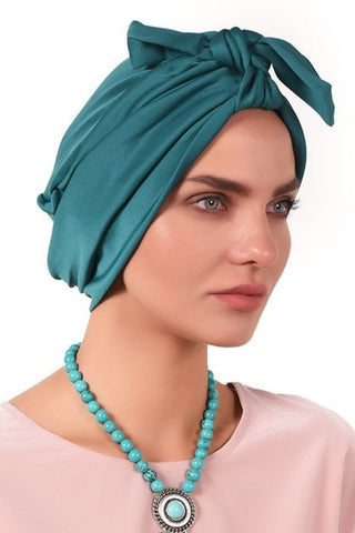 Lycra Tie Bow Turban - Jade - Gingerlining