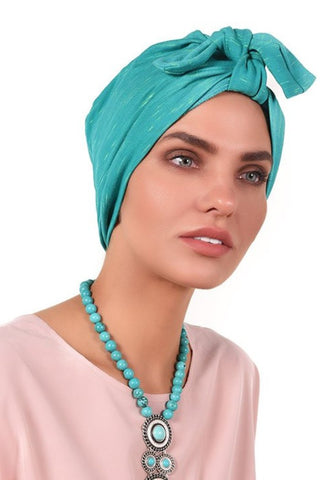 Simple Tie Bow Turban - Green&Yellow - Gingerlining (723055935532)