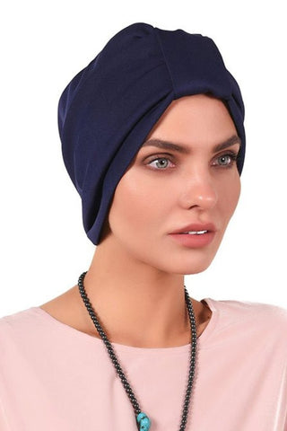Lycra Tab Turban - Navy - Gingerlining