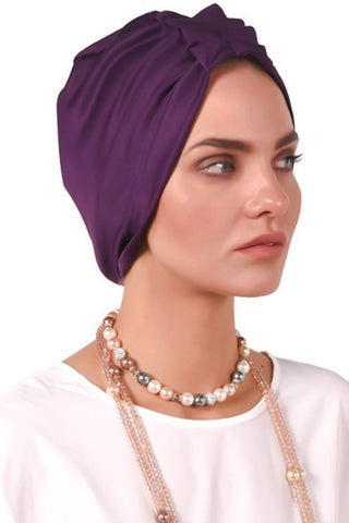 Lycra Fan Turban - Dark Voilet - Gingerlining