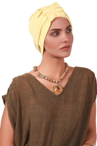 Lycra Fan Turban - Light Yellow - Gingerlining (723047120940)