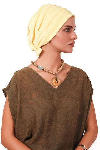 Lycra Fitted Pleat Turban - Light Yellow - Gingerlining