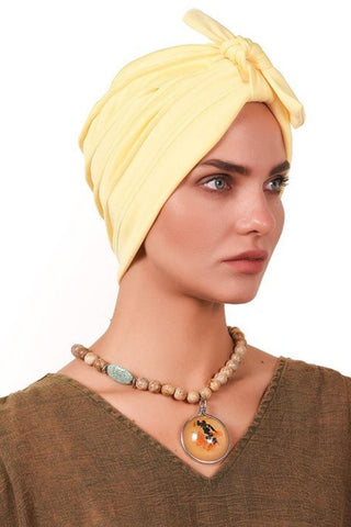 Lycra Tie Bow Turban - Light Yellow - Gingerlining
