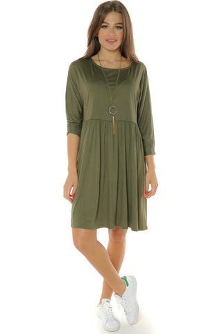 Babydoll Dress- Olive - Gingerlining