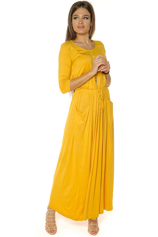 Maxi Dress with drawstring- Mustard - Gingerlining