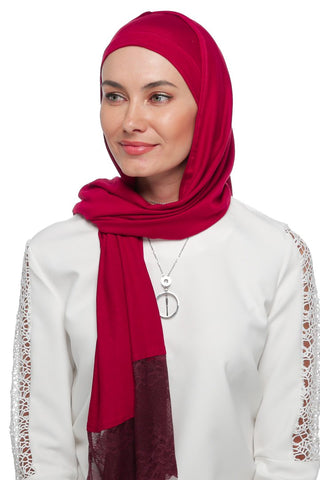 One Piece Full Cover Lace Turban - Wine