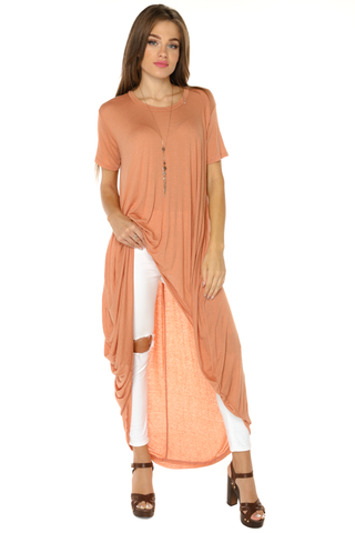 High Low Tunic Top- Papaya - Gingerlining