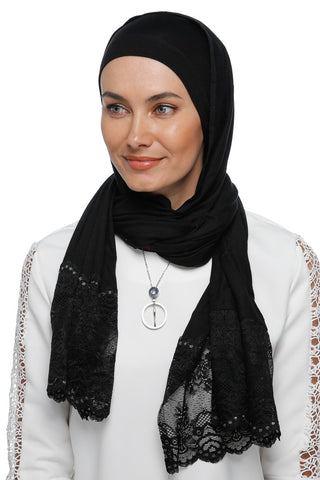 One Piece Full Cover Lace Turban - Black / Black & Silver Lace