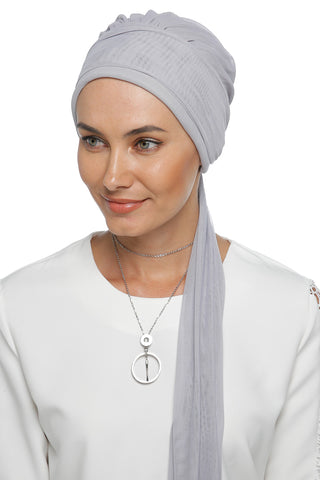 Tulle Multi-way Wrap Turban - Grey