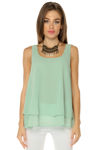 Layered Chiffon Tank Top- Green
