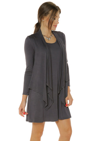 Knee Length Two-fer Dress- Steel Grey - Gingerlining
