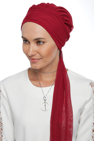 Tulle Multi-way Wrap Turban - Red