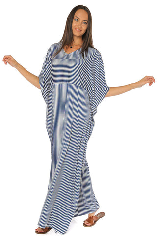 Super Satin Striped Kaftan Dress - Gingerlining