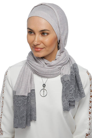 One Piece Full Cover Lace Turban - Cloudy Grey