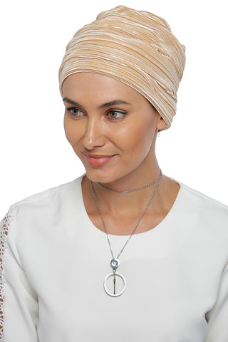 Pleated Drape Turban - champagne
