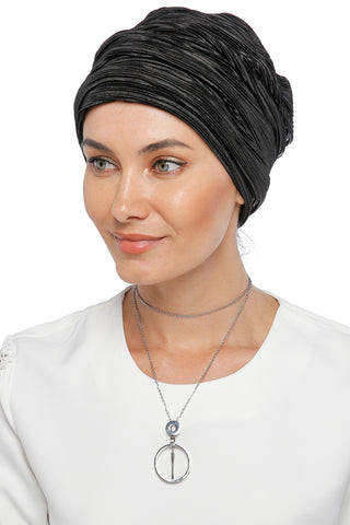 Pleated Drape Turban - Midnight