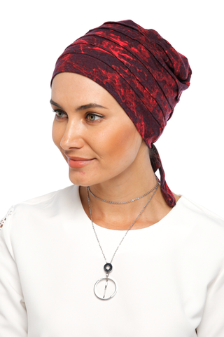 Simple Drape Tie Turban - Remix (Red/Black) (1365487648812)