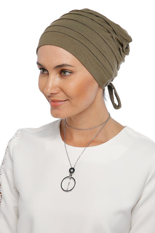 Simple Drape Tie Turban - Olive Green (1365497446444)