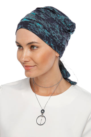 Simple Drape Tie Turban - Remix (Blue/Black)