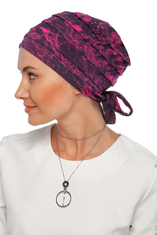 Simple Drape Tie Turban  - Remix (Pink/Black) (1365485486124)