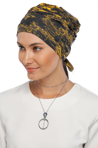 Simple Drape Tie Turban  - Remix (Yellow/Black) (1365486436396)