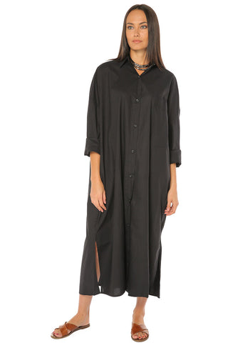 Button Down Long Shirt / Dress - black - Gingerlining