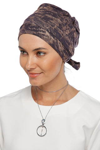 Simple Drape Tie Turban - Remix (Brown/Black) (1365488959532)