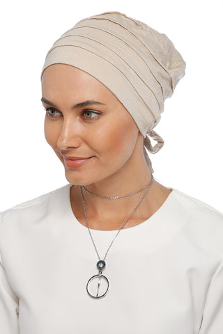 Simple Drape Tie Turban  - Cream