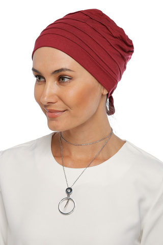 Simple Drape Tie Turban - Burgundy