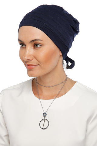 Simple Drape Tie Turban - Navy (1365498232876)