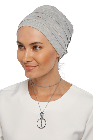 Simple Drape Tie Turban  - Light Grey (1365496365100)