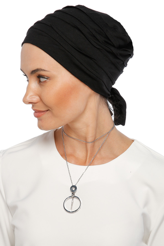 Simple Drape Tie Turban  - Black (1365495840812)