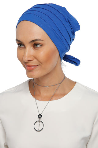 Simple Drape Tie Turban - Blue (1365493383212)