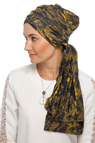 Multi-way Wrap Turban - Remix (Yellow/Black) (1063924695084)